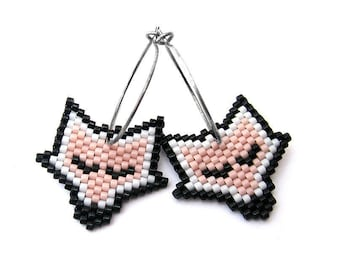 Earrings - Sleeping Red Foxes - Light Pink, White, Black - 925s sterling silver hoops