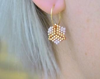 Earrings - Rosalina Flora - Opaque Mauve, Metallic Rose Gold and Galvanized Gold