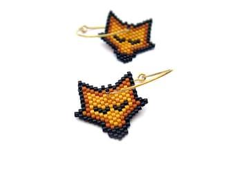 Earrings - Sleeping Pumpkin Fox - Light Orange, Burned Dark Orange and Black - 24k Gold plated sterling silver
