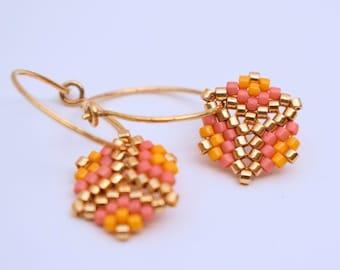 Earrings - Angelina Blush - Light Orange, Dark Coral and Gold