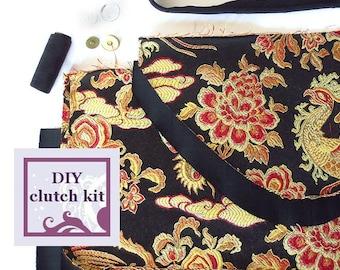 diy handbag kit - black satin damask envelope clutch - pre cut fabric with PDF pattern