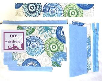 diy wristlet kit - spirograph - pre cut fabric with PDF pattern