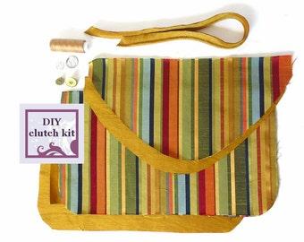 diy clutch kit - gold stripe envelope clutch - pre cut fabric with PDF pattern