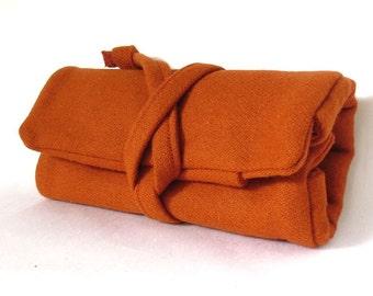 fabric watch roll - pumpkin orange wool