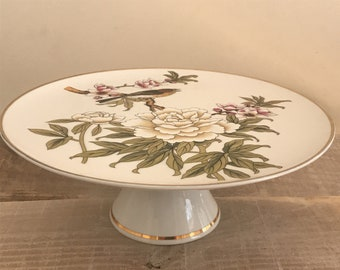 cake serving platter 10 ornate cake stand on pedestal Shafford footed cake stand with bird and blossoms dessert serving platter
