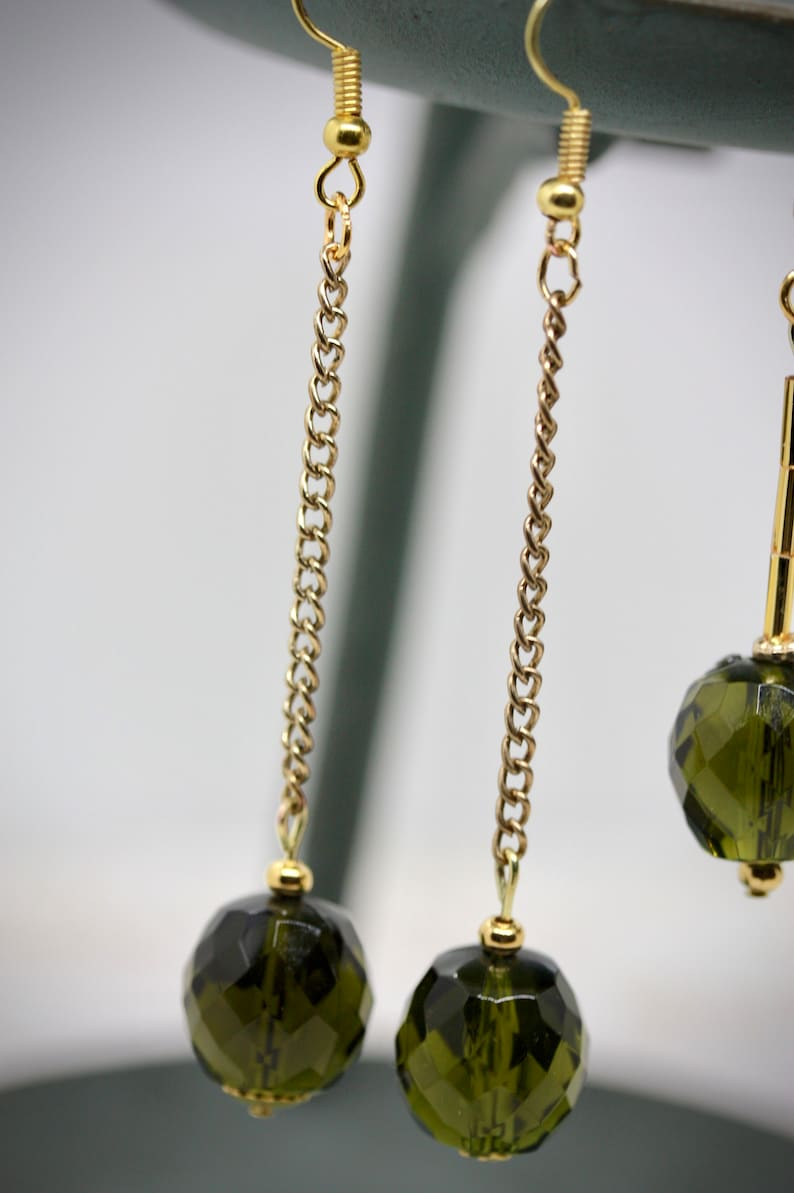 Your choice of handmade upcycled earrings findings and ear wires made of vintage faceted olive green dangles combined with new beads
