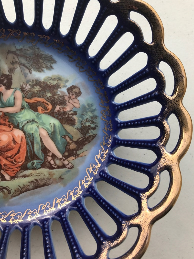Porcelain Basket with Angel and two women Scene by Friedrich Eger Martinroda Germany PM golden porcelain basket and 24 karat gold