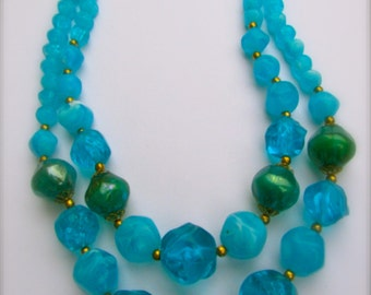 Double-stranded - wow colors - bright vivid blue and green sure to be noticed - fabulous vintage necklace