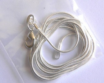 16 inch  Silver 1 mm snake chain necklace
