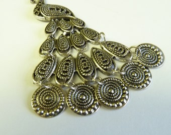 Extra Large Silver movable Peacock Pendant