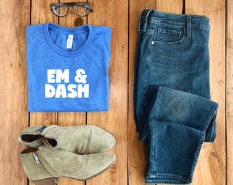 3001 Heather True Royal Bella Canvas Folded T-Shirt Mockup with Bootie and Jeans, Simple Feminine Mockup