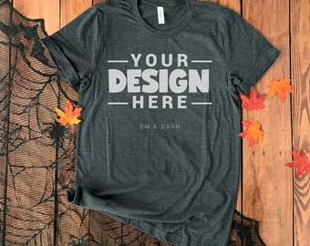 MOCKUP - Bella & Canvas 3001 Dark Gray Heather T-Shirt Halloween Fall Flat Lay with Fall Leaves on Rustic Wood Background