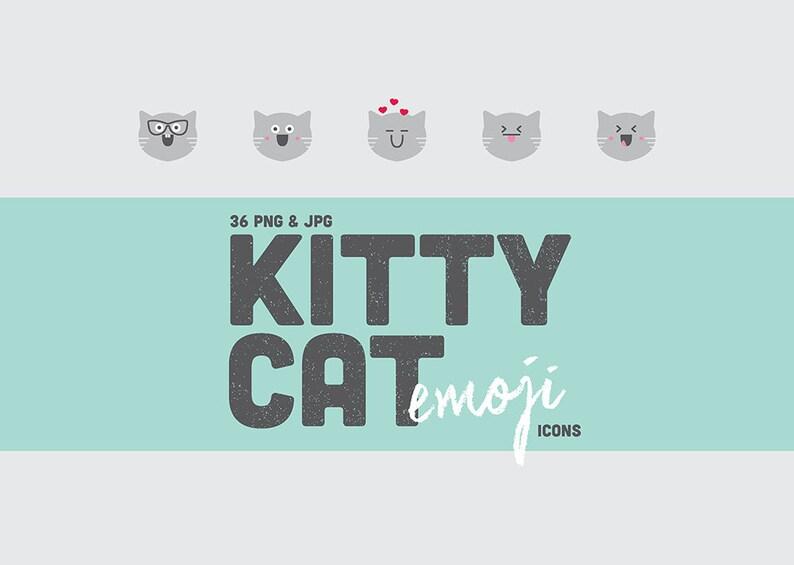 36 Kitty Cat Emoji Icons (PNG & JPG)