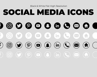 10 Black & White Social Media Icons Photoshop and PNG Files