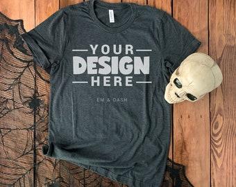 MOCKUP - Bella & Canvas 3001 Dark Gray Heather T-Shirt Halloween Fall Flat Lay with Skull on Rustic Wood Background