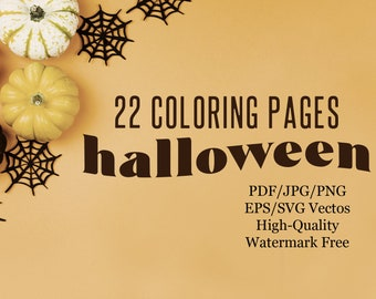 22 Halloween Coloring Pages + Patterns, Anti-stress Coloring Book Pages, Adult Coloring, Kids + Family Activity, Haunted House, Ghosts, Bat
