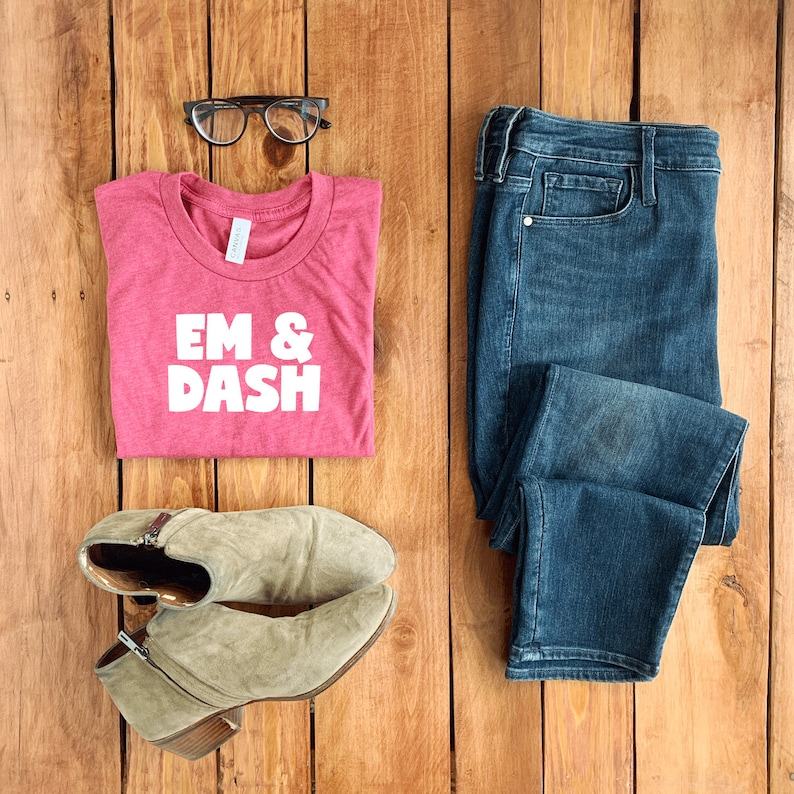 Bella Canvas 3001 Heather Raspberry Folded T-Shirt Mockup with Boots and Jeans Simple Feminine Mockup