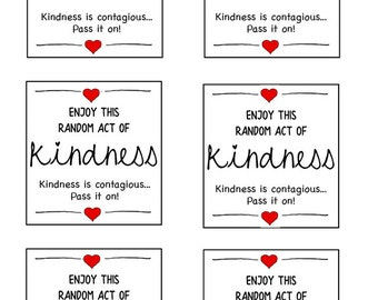 photograph relating to Random Act of Kindness Printable identify Functions of kindness Etsy