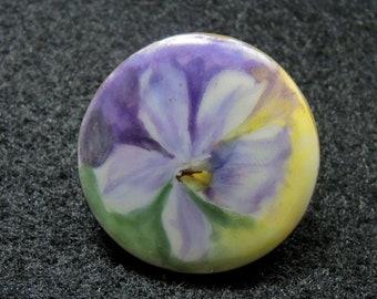 Large Antique Hand Painted Porcelain Violet Stud Button