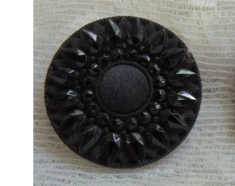 Vintage Victorian Mourning Button, Faux Fabric Button - Antique Button - Rare Collectible Button