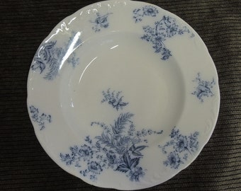 W. H. Grindley & Co. Blue And White Transferware Bowl, Shallow Flow Blue Bowl