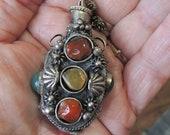 Vintage Jeweled Snuff Bottle, Citrine, Carnelian, Agate, Silver Metal Snuff Bottle REDuCED
