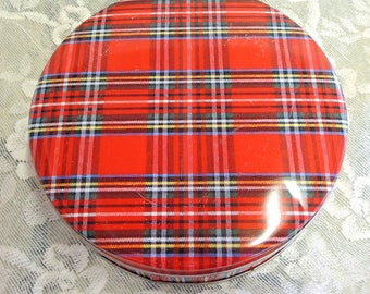 Red Plaid Cookie Tin, 6 Inch Tin
