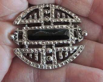 Art Deco Style Black And Silver Marcasite Brooch Pin