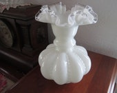 FENTON Beaded Melon Vase - Milk Glass- Silvercrest Ruffled Top - Art glass- 8 quot tall - Decor - Late 50 39 s-60s- Great GIFT