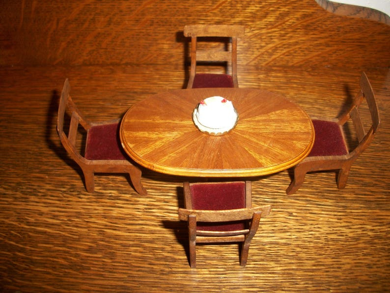 Fine Antique Dollhouse Dining Table W 4 Chairs Red Velvet Upholstery Marquetry Inlay Table Top 1930S Free Shipping Uwap Interior Chair Design Uwaporg