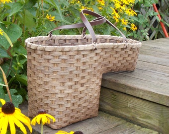 Leather Handled Stair Step Basket