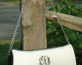 Handknit Felt Handbag Purse Clutch Black and White Wool Handknitted Felted with your Initials