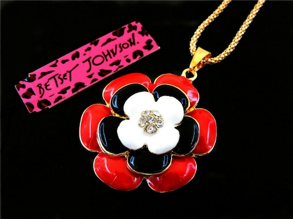 Pendant Betsey Johnson Jewelry enamel color Flowers Golden Women necklaces