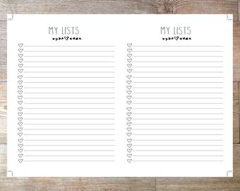 B6  Size TN Printable Planner Inserts My List Checklist