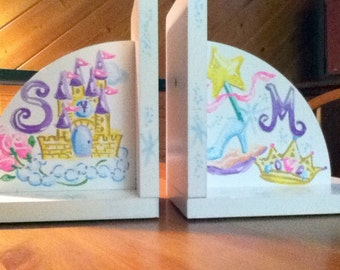 Children's Bookends Personalized Princess Design Handpainted