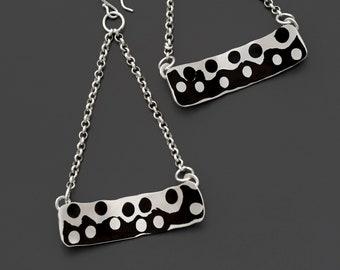 Shakudo & Silver Swing Earrings