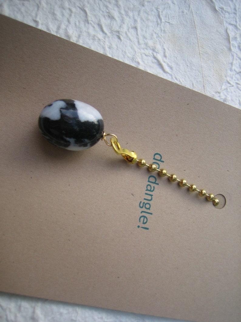 Fan Dangle  Tumbled Pebble on Brass Light Pull Switch Single Black White Polished