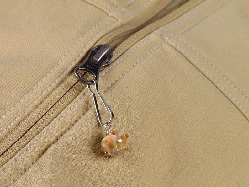 Orange Pink Mix Decorative Zip Pull Zipper Pull Opal Pink Zipper Charm Jacket Pull FOB Purse Dangle Zipper Dangle
