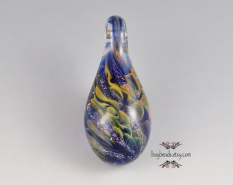 Lampwork Glass Pendant, 58/25mm, Cobalt Blue, Olive Green