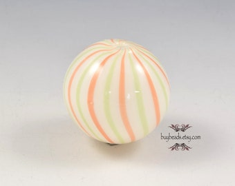 Blown Glass Hollow Bead (1), 30mm, White, Orange, Celery Green