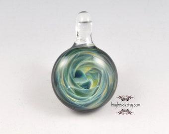 Lampwork Glass Pendant, 30mm, Leaf Green, Navy Blue