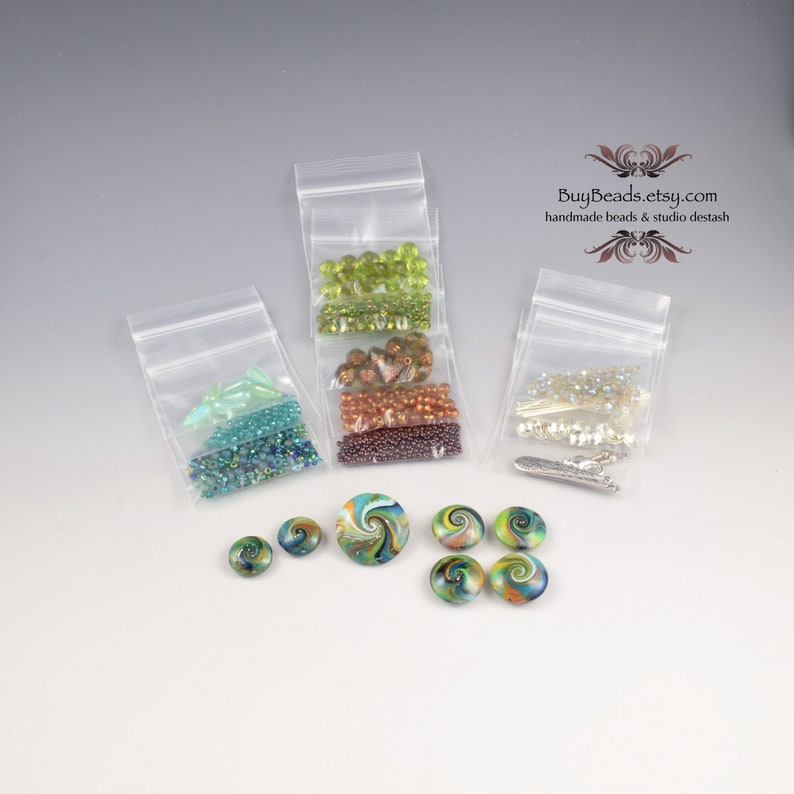 Olive Green Teal Blue Lentil Bead Kit #10 Silver Polymer Clay