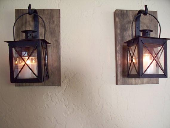 Arredo bagno rustico coppia di lanterna a parete applique etsy