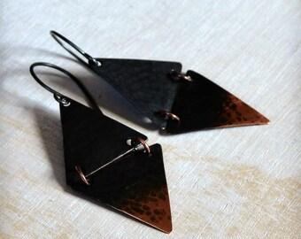 Geometric earrings, triangle earrings, rustic copper earrings, ombre patina, boho earrings - Duality