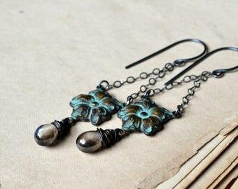 Dangle earrings, romantic glass brass and sterling silver earrings _ Mistress