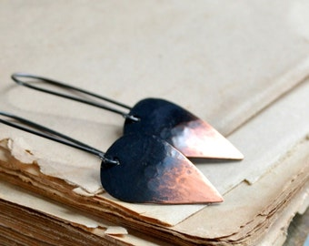 Copper earrings, sterling silver earrings, minimalist earrings, rustic earrings, hammered metal, leaf shape, drop earrings