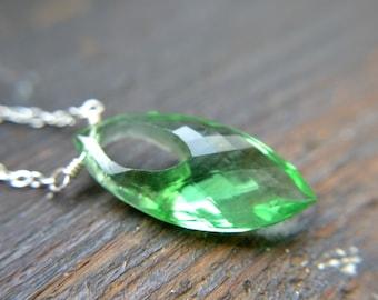 Quartz and sterling silver necklace, Celadon green large gemstone - Elixir