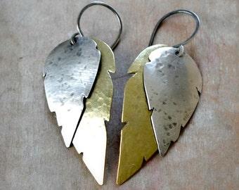Sterling silver and brass feather earrings, rustic earrings, bohemian earrings - Tempestual