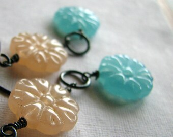 Romantic earrings floral glass beads and sterling silver earrings - Nostalgic