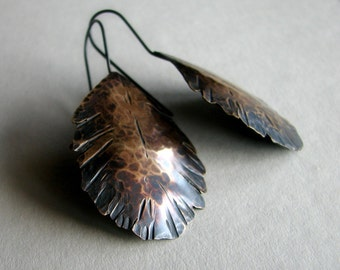 Brass feather earrings, rustic feather earrings, bohemian earrings, gift for her, hammered and hand cut metal, boho earrings - Icarus